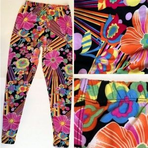 Silver Rainbow Floral Psychedelic Leggings OS